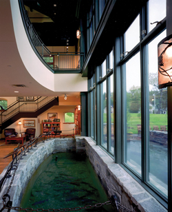 Orvis Retail Flagship interior view of trout pond – Manchester, Vermont